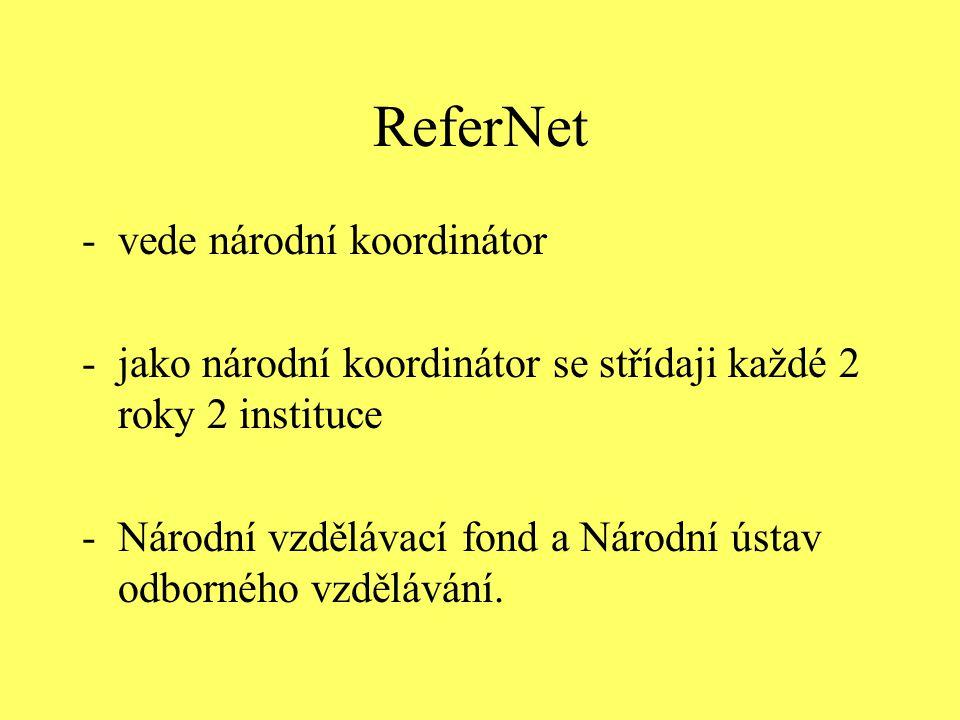 ReferNet -vede národní koordinátor -jako národní koordinátor se střídaji každé 2 roky 2 instituce -Národní vzdělávací fond a Národní ústav odborného v