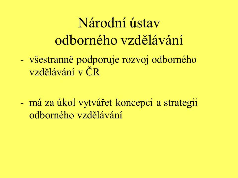 Národní ústav odborného vzdělávání -všestranně podporuje rozvoj odborného vzdělávání v ČR -má za úkol vytvářet koncepci a strategii odborného vzdělává