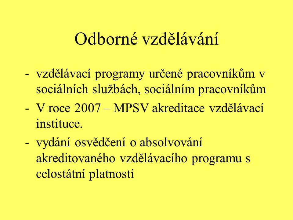 Odborné vzdělávání -vzdělávací programy určené pracovníkům v sociálních službách, sociálním pracovníkům -V roce 2007 – MPSV akreditace vzdělávací inst