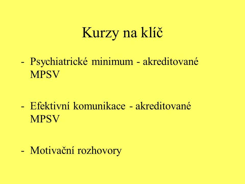 Kurzy na klíč -Psychiatrické minimum - akreditované MPSV -Efektivní komunikace - akreditované MPSV -Motivační rozhovory