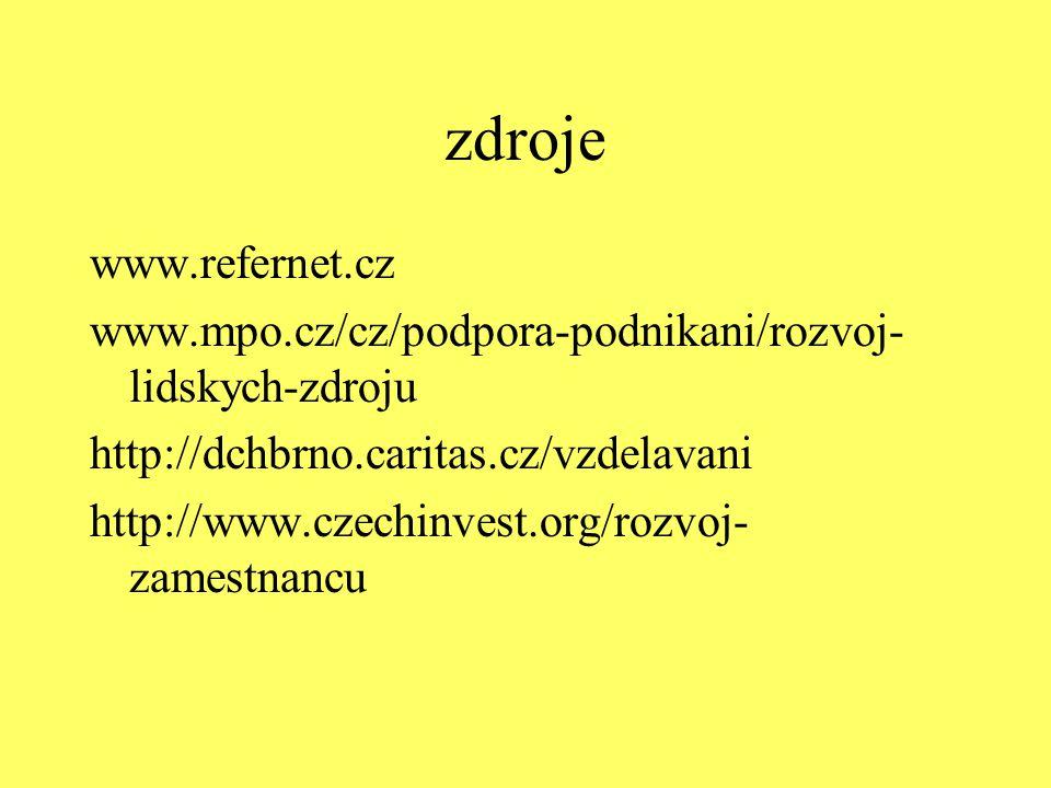 zdroje www.refernet.cz www.mpo.cz/cz/podpora-podnikani/rozvoj- lidskych-zdroju http://dchbrno.caritas.cz/vzdelavani http://www.czechinvest.org/rozvoj-