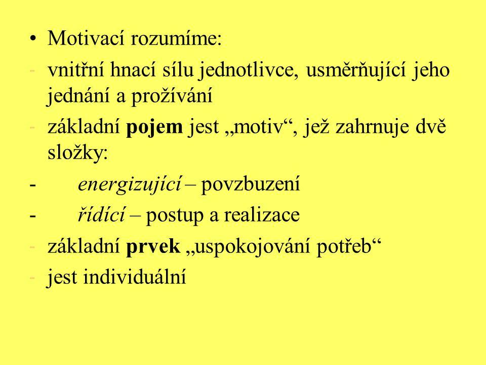 """Motivací rozumíme: - vnitřní hnací sílu jednotlivce, usměrňující jeho jednání a prožívání - základní pojem jest """"motiv"""", jež zahrnuje dvě složky: -ene"""