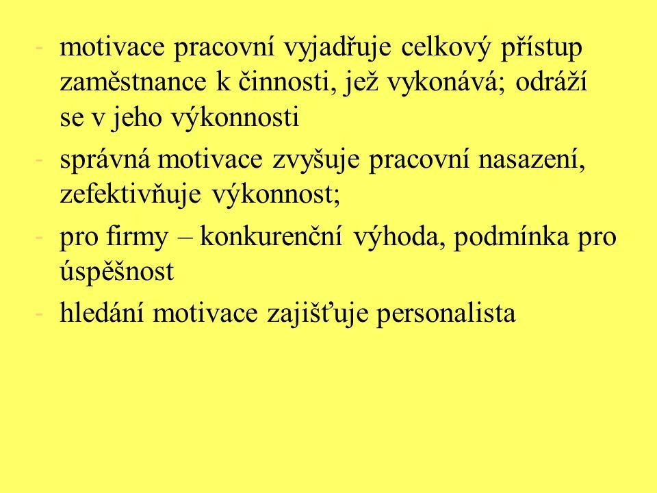 - motivace pracovní vyjadřuje celkový přístup zaměstnance k činnosti, jež vykonává; odráží se v jeho výkonnosti - správná motivace zvyšuje pracovní na