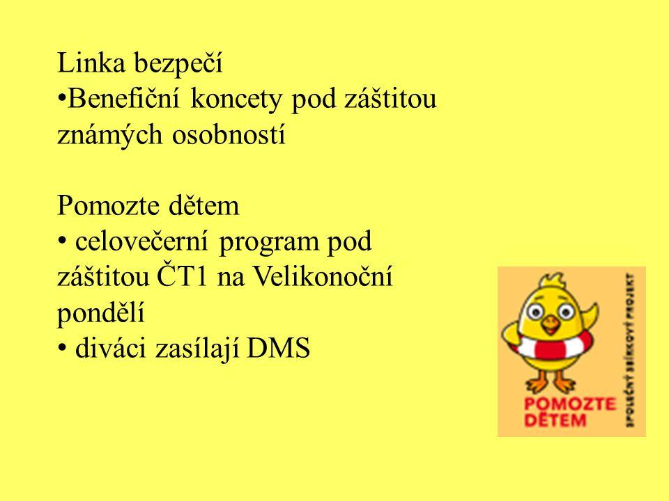 Linka bezpečí Benefiční koncety pod záštitou známých osobností Pomozte dětem celovečerní program pod záštitou ČT1 na Velikonoční pondělí diváci zasíla