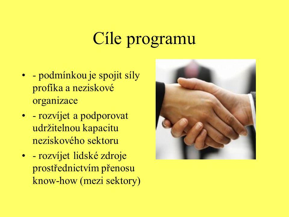 Cíle programu - podmínkou je spojit síly profíka a neziskové organizace - rozvíjet a podporovat udržitelnou kapacitu neziskového sektoru - rozvíjet li