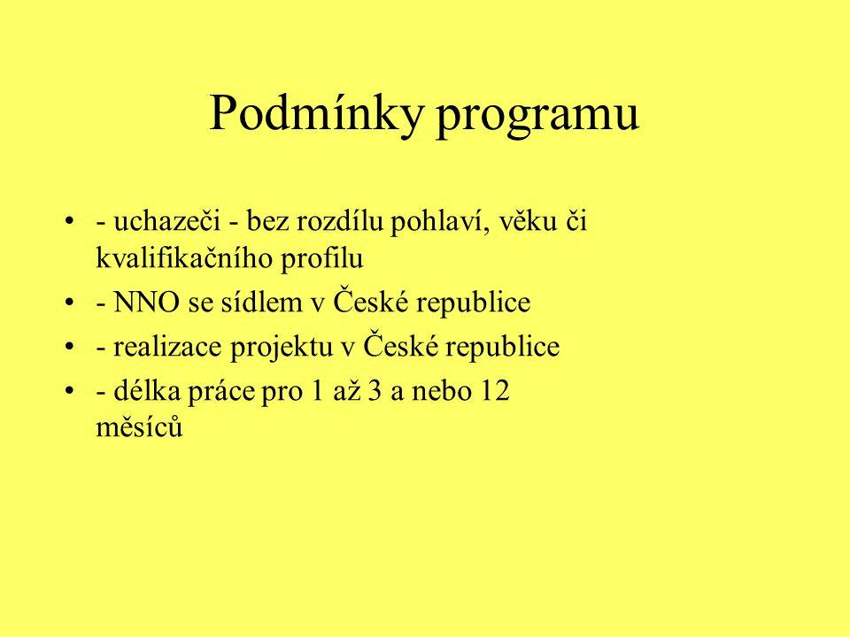 Podmínky programu - uchazeči - bez rozdílu pohlaví, věku či kvalifikačního profilu - NNO se sídlem v České republice - realizace projektu v České repu