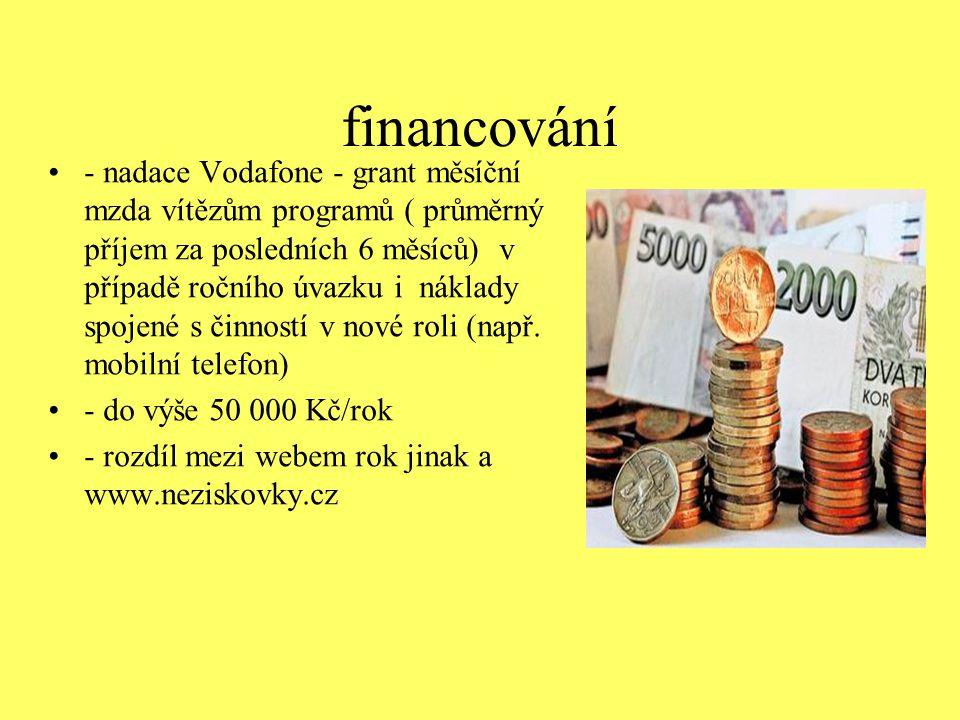 financování - nadace Vodafone - grant měsíční mzda vítězům programů ( průměrný příjem za posledních 6 měsíců) v případě ročního úvazku i náklady spoje