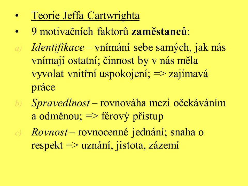 Teorie Jeffa Cartwrighta 9 motivačních faktorů zaměstanců: a) Identifikace – vnímání sebe samých, jak nás vnímají ostatní; činnost by v nás měla vyvol