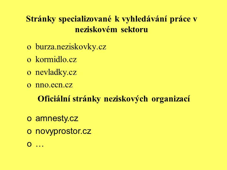 Stránky specializované k vyhledávání práce v neziskovém sektoru oburza.neziskovky.cz okormidlo.cz onevladky.cz onno.ecn.cz Oficiální stránky neziskový