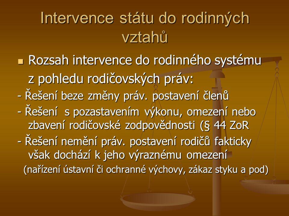 Intervence státu do rodinných vztahů Rozsah intervence do rodinného systému Rozsah intervence do rodinného systému z pohledu rodičovských práv: - Řešení beze změny práv.