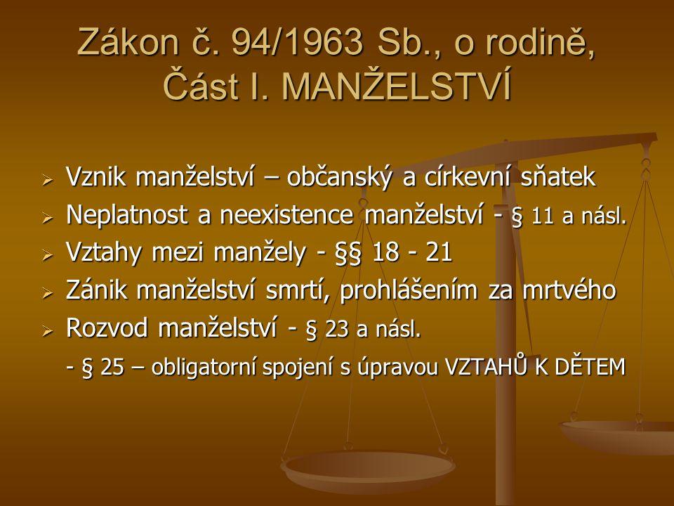 Zákon č.94/1963 Sb., o rodině, část II.