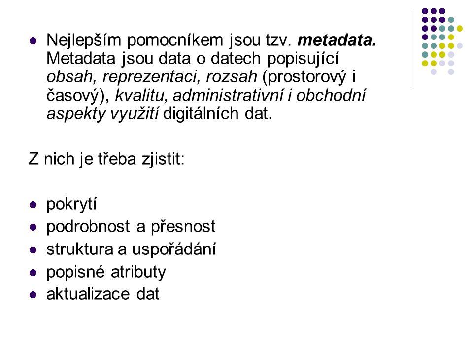 Nejlepším pomocníkem jsou tzv. metadata. Metadata jsou data o datech popisující obsah, reprezentaci, rozsah (prostorový i časový), kvalitu, administra
