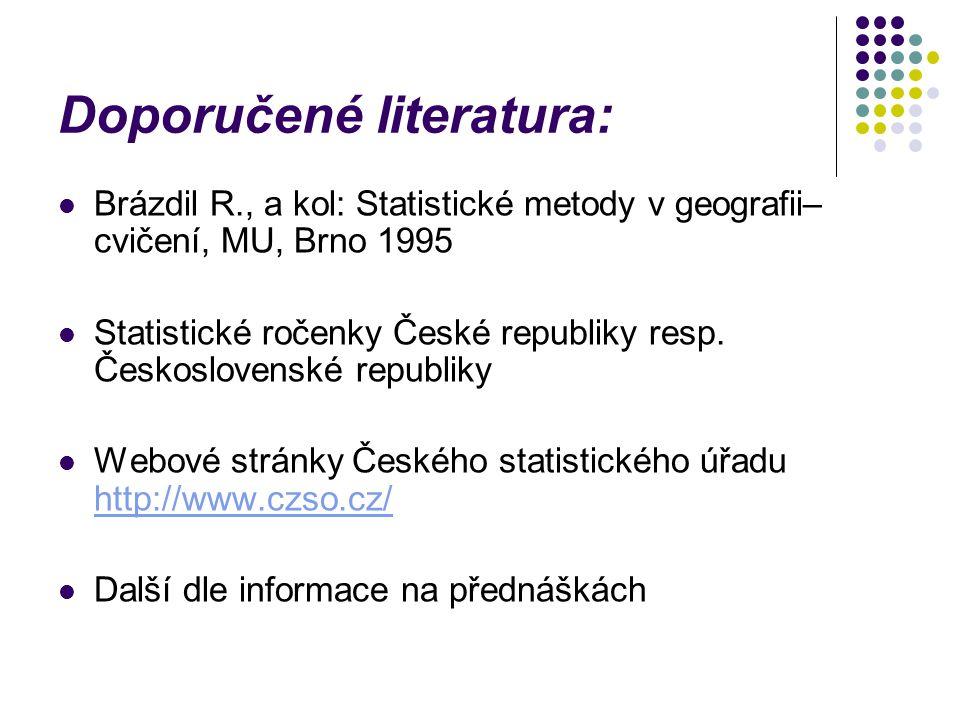 Doporučené literatura: Brázdil R., a kol: Statistické metody v geografii– cvičení, MU, Brno 1995 Statistické ročenky České republiky resp. Českosloven