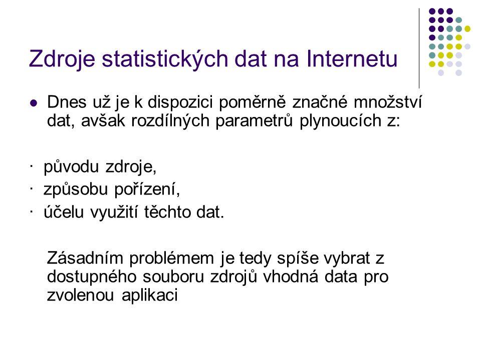 Zdroje statistických dat na Internetu Dnes už je k dispozici poměrně značné množství dat, avšak rozdílných parametrů plynoucích z: · původu zdroje, · způsobu pořízení, · účelu využití těchto dat.