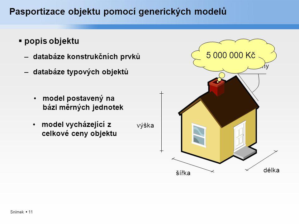 Snímek  11 Pasportizace objektu pomocí generických modelů  popis objektu model postavený na bázi měrných jednotek výška šířka délka sklon střechy mo