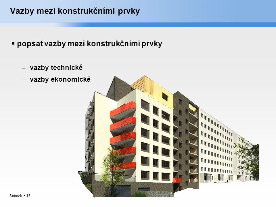 Snímek  13 Vazby mezi konstrukčními prvky  popsat vazby mezi konstrukčními prvky –vazby technické –vazby ekonomické