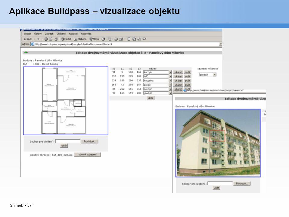 Snímek  37 Aplikace Buildpass – vizualizace objektu