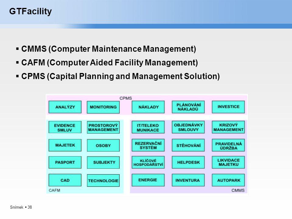 Snímek  38 GTFacility  CMMS (Computer Maintenance Management)  CAFM (Computer Aided Facility Management)  CPMS (Capital Planning and Management So