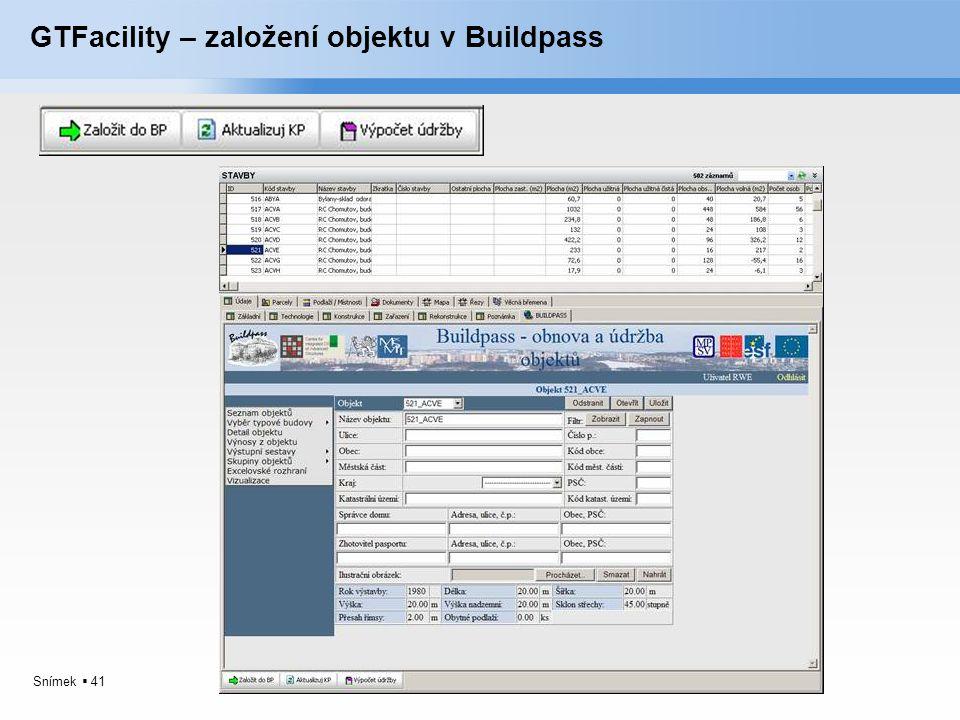 Snímek  41 GTFacility – založení objektu v Buildpass