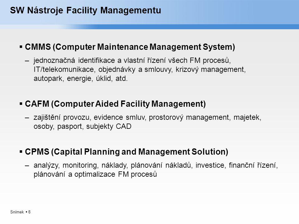 Snímek  8 SW Nástroje Facility Managementu  CMMS (Computer Maintenance Management System) –jednoznačná identifikace a vlastní řízení všech FM proces