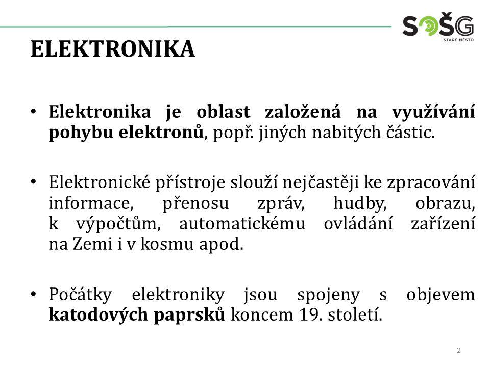 ELEKTRONIKA Elektronika je oblast založená na využívání pohybu elektronů, popř. jiných nabitých částic. Elektronické přístroje slouží nejčastěji ke zp
