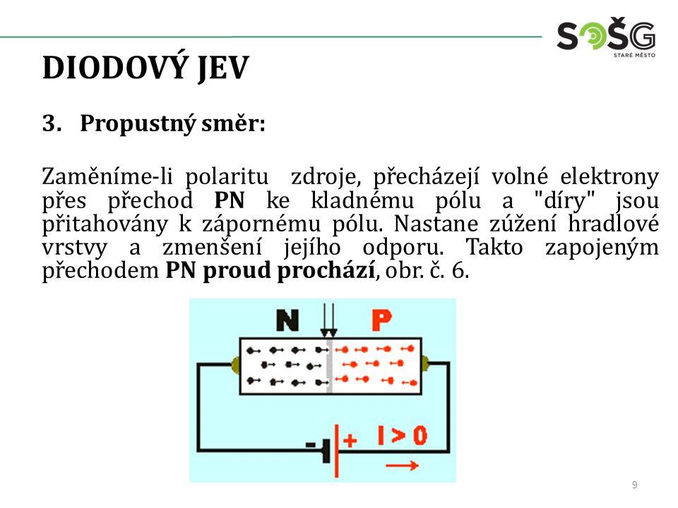 DIODOVÝ JEV 3.Propustný směr: Zaměníme-li polaritu zdroje, přecházejí volné elektrony přes přechod PN ke kladnému pólu a