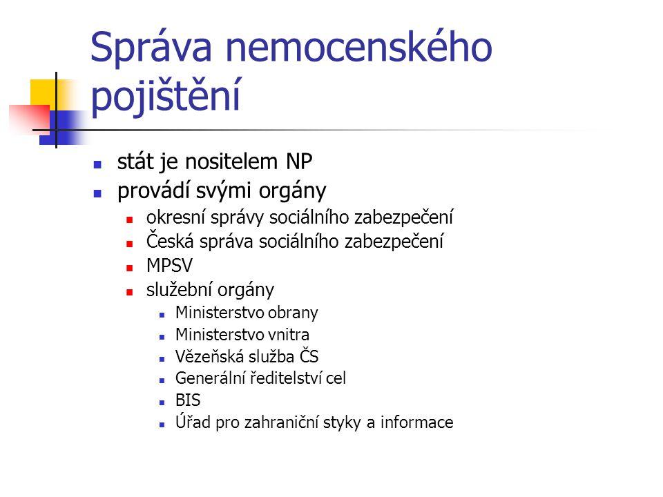 Správa nemocenského pojištění stát je nositelem NP provádí svými orgány okresní správy sociálního zabezpečení Česká správa sociálního zabezpečení MPSV