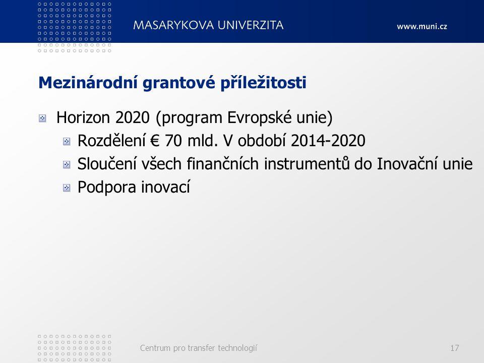 Mezinárodní grantové příležitosti Horizon 2020 (program Evropské unie) Rozdělení € 70 mld.