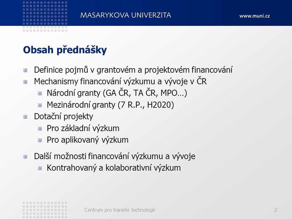 Centrum pro transfer technologií2 Obsah přednášky Definice pojmů v grantovém a projektovém financování Mechanismy financování výzkumu a vývoje v ČR Národní granty (GA ČR, TA ČR, MPO…) Mezinárodní granty (7 R.P., H2020) Dotační projekty Pro základní výzkum Pro aplikovaný výzkum Další možnosti financování výzkumu a vývoje Kontrahovaný a kolaborativní výzkum