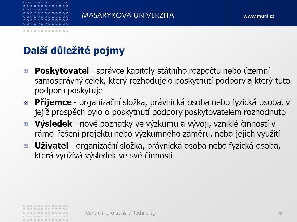 Kontrahovaný a kolaborativní výzkum Kontrahovaný výzkum – na základě smlouvy (kontraktu) se soukromou firmou je prováděn výzkum a vývoj na univerzitě Kolaborativní výzkum – výzkum probíhá zároveň na univerzitě/akademii věd/výzkumném ústavu a v soukromé společnosti, kdy si partneři vyměňují informace a společně postupují k naplnění cíle Centrum pro transfer technologií19