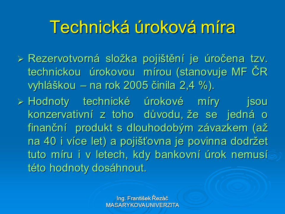 Ing. František Řezáč MASARYKOVA UNIVERZITA Technická úroková míra  Rezervotvorná složka pojištění je úročena tzv. technickou úrokovou mírou (stanovuj