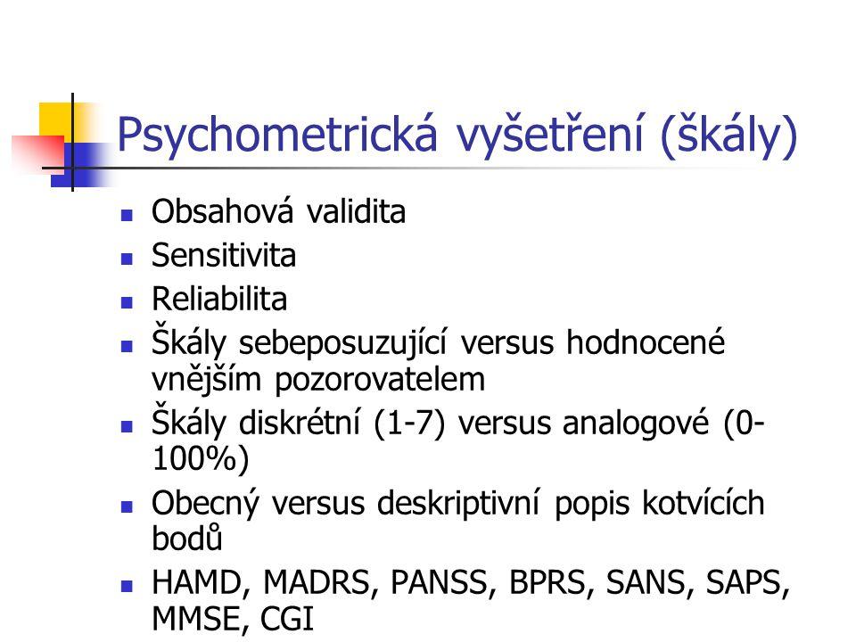Psychometrická vyšetření (škály) Obsahová validita Sensitivita Reliabilita Škály sebeposuzující versus hodnocené vnějším pozorovatelem Škály diskrétní
