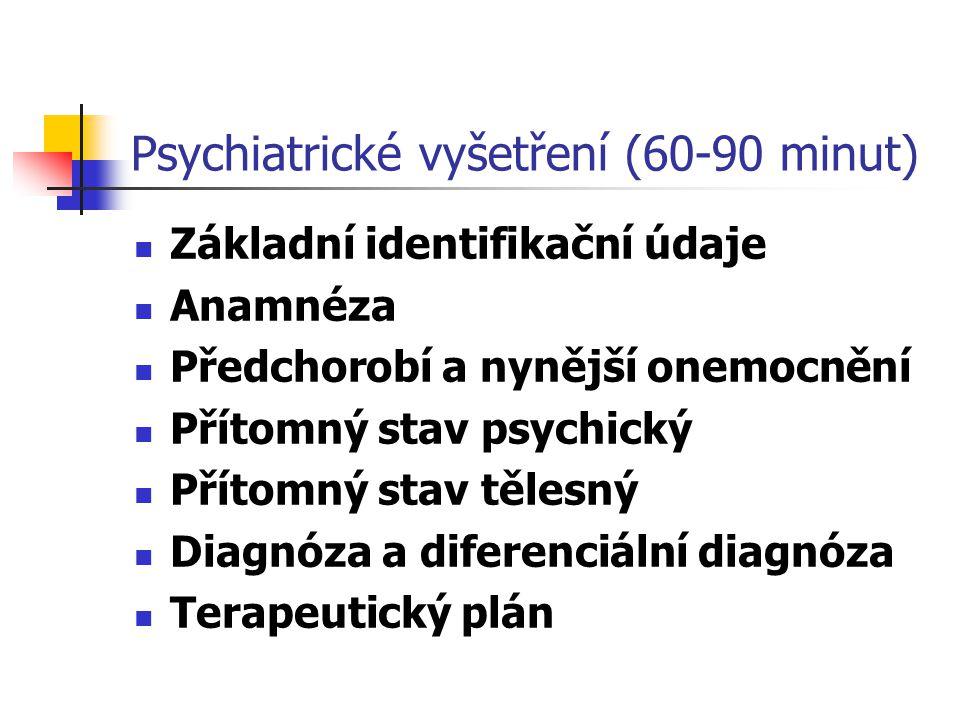 Psychiatrické vyšetření (60-90 minut) Základní identifikační údaje Anamnéza Předchorobí a nynější onemocnění Přítomný stav psychický Přítomný stav těl