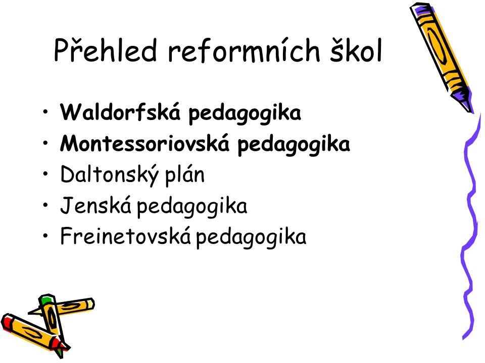 Přehled reformních škol Waldorfská pedagogika Montessoriovská pedagogika Daltonský plán Jenská pedagogika Freinetovská pedagogika
