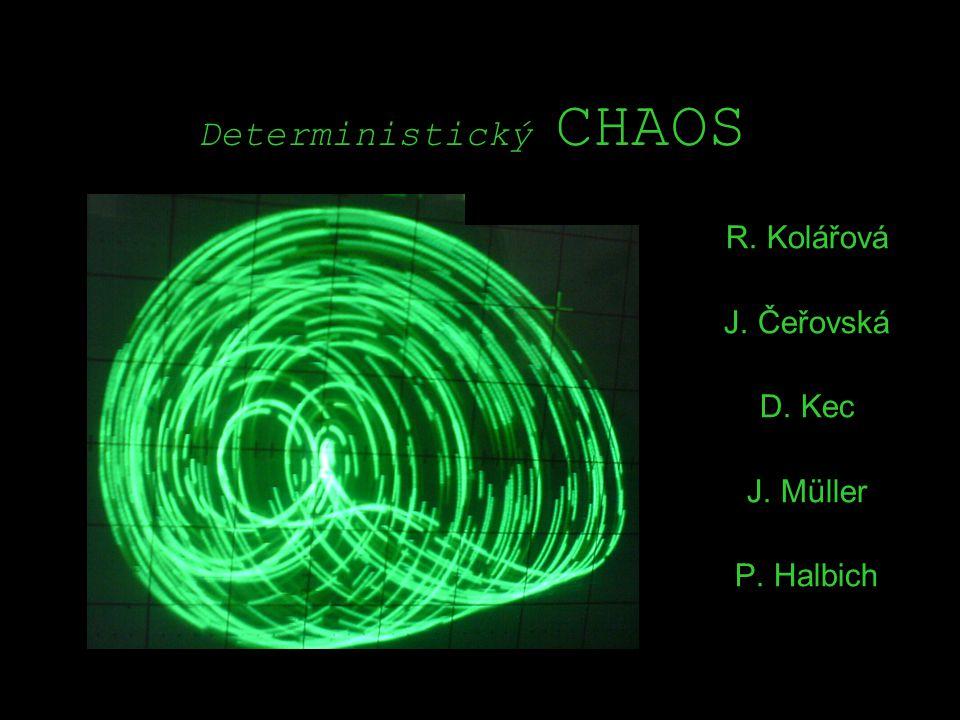 Deterministický CHAOS chaos chaos chaos Deterministický = řídící se pravidly Chaos = složitý děj, bez zjevného řádu >>> Deterministický chaos NENÍ náhodný děj Řídí se pravidly a zákonitostmi, kterým nerozumíme!