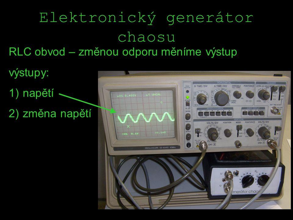 Elektronický generátor chaosu RLC obvod – změnou odporu měníme výstup výstupy: 1) napětí 2) změna napětí