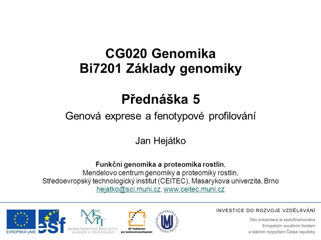 CG020 Genomika Bi7201 Základy genomiky Přednáška 5 Genová exprese a fenotypové profilování Jan Hejátko Funkční genomika a proteomika rostlin, Mendelov