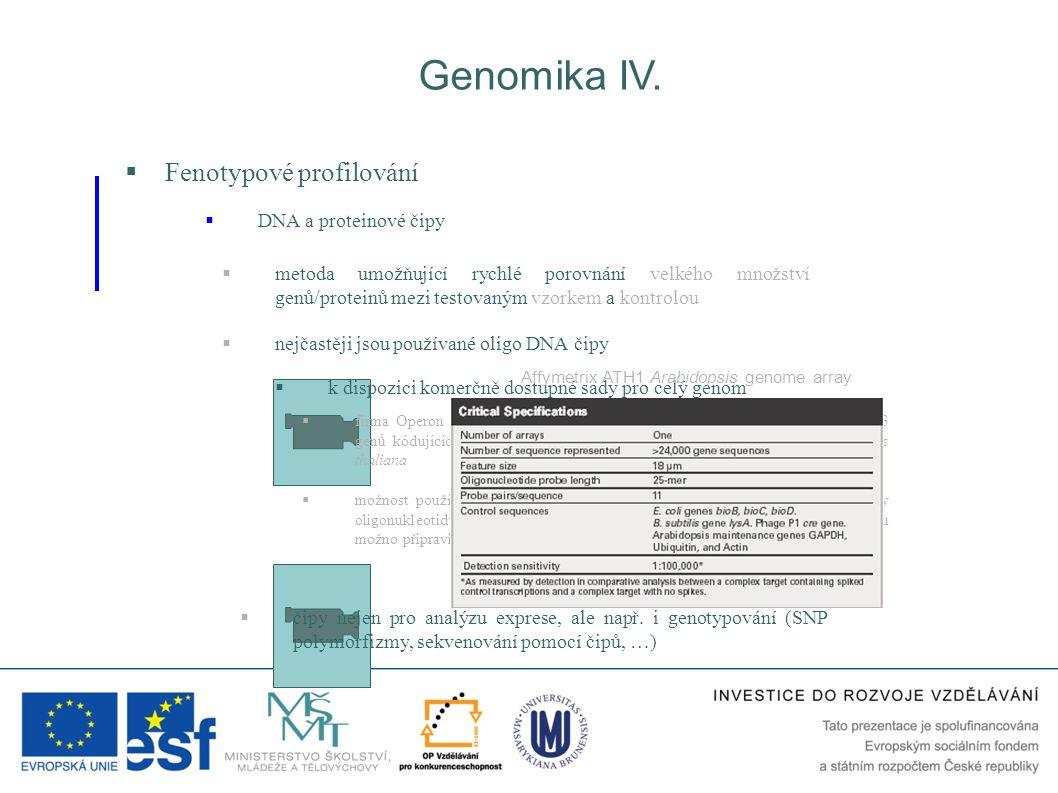  Fenotypové profilování  DNA a proteinové čipy Genomika IV.  metoda umožňující rychlé porovnání velkého množství genů/proteinů mezi testovaným vzor