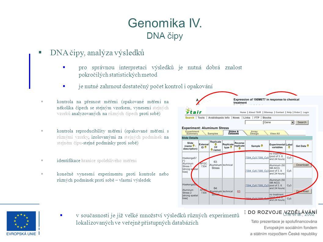 Genomika IV. DNA čipy  DNA čipy, analýza výsledků  pro správnou interpretaci výsledků je nutná dobrá znalost pokročilých statistických metod  kontr
