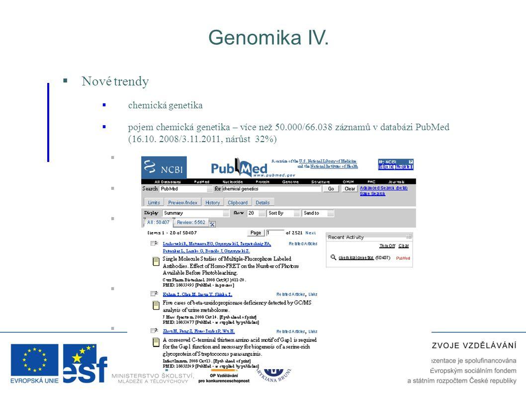 Genomika IV.  Nové trendy  pojem chemická genetika – více než 50.000/66.038 záznamů v databázi PubMed (16.10. 2008/3.11.2011, nárůst 32%)  podobně