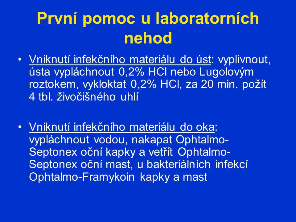 První pomoc u laboratorních nehod Vniknutí infekčního materiálu do úst: vyplivnout, ústa vypláchnout 0,2% HCl nebo Lugolovým roztokem, vykloktat 0,2% HCl, za 20 min.