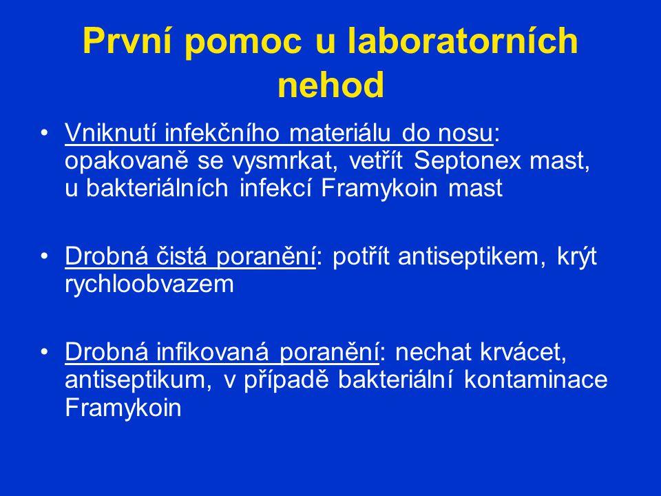 První pomoc u laboratorních nehod Vniknutí infekčního materiálu do nosu: opakovaně se vysmrkat, vetřít Septonex mast, u bakteriálních infekcí Framykoi
