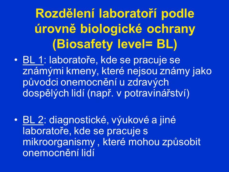 Rozdělení laboratoří podle úrovně biologické ochrany (Biosafety level= BL) BL 1: laboratoře, kde se pracuje se známými kmeny, které nejsou známy jako původci onemocnění u zdravých dospělých lidí (např.