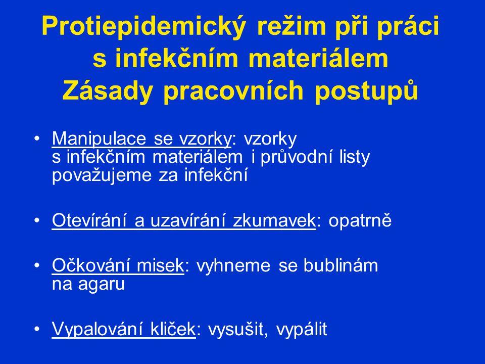 Protiepidemický režim při práci s infekčním materiálem Zásady pracovních postupů Manipulace se vzorky: vzorky s infekčním materiálem i průvodní listy