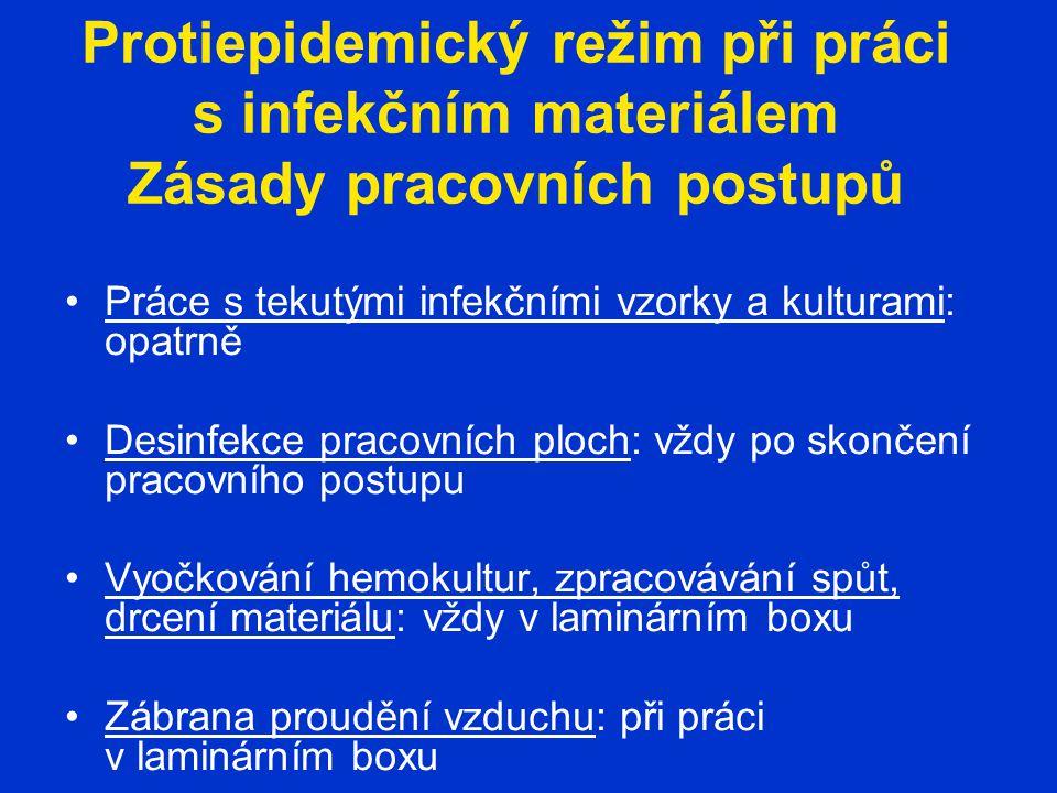 Protiepidemický režim při práci s infekčním materiálem Zásady pracovních postupů Práce s tekutými infekčními vzorky a kulturami: opatrně Desinfekce pr
