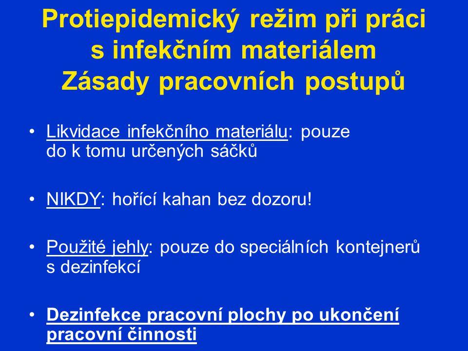 Protiepidemický režim při práci s infekčním materiálem Zásady pracovních postupů Likvidace infekčního materiálu: pouze do k tomu určených sáčků NIKDY: hořící kahan bez dozoru.