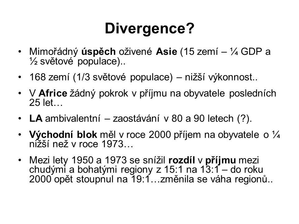 Divergence. Mimořádný úspěch oživené Asie (15 zemí – ¼ GDP a ½ světové populace)..