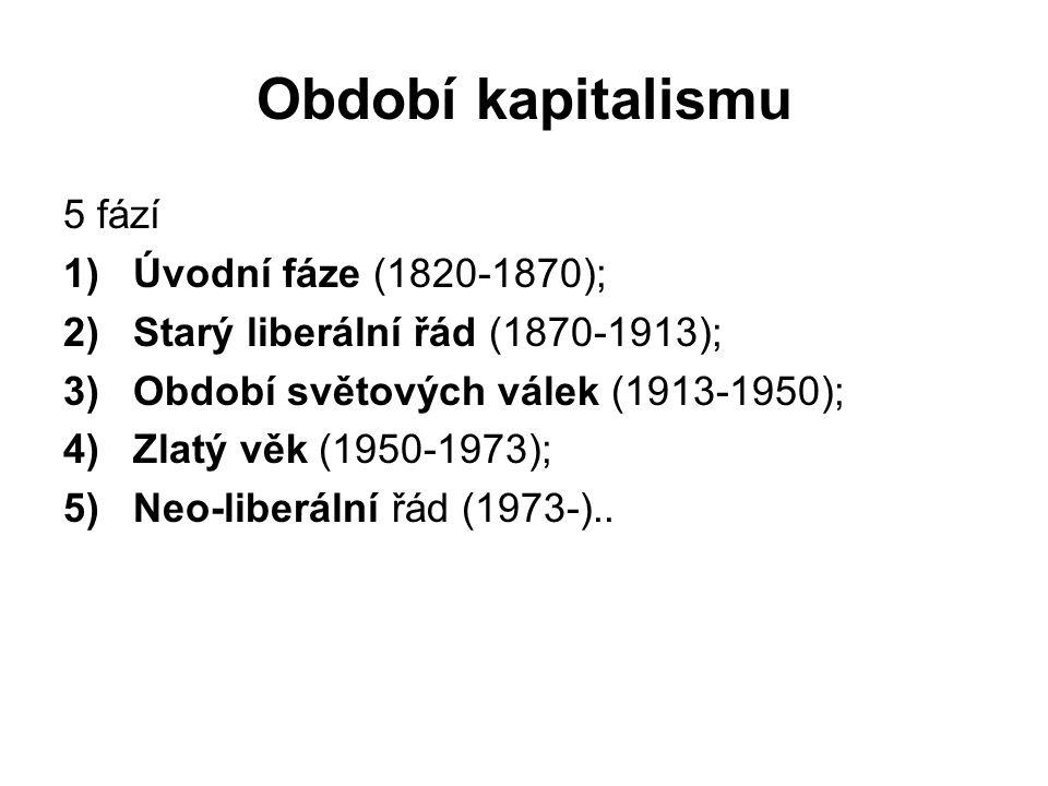 Období kapitalismu 5 fází 1)Úvodní fáze (1820-1870); 2)Starý liberální řád (1870-1913); 3)Období světových válek (1913-1950); 4)Zlatý věk (1950-1973); 5)Neo-liberální řád (1973-)..
