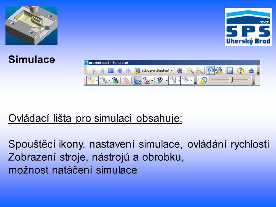 Simulace Ovládací lišta pro simulaci obsahuje: Spouštěcí ikony, nastavení simulace, ovládání rychlosti Zobrazení stroje, nástrojů a obrobku, možnost n