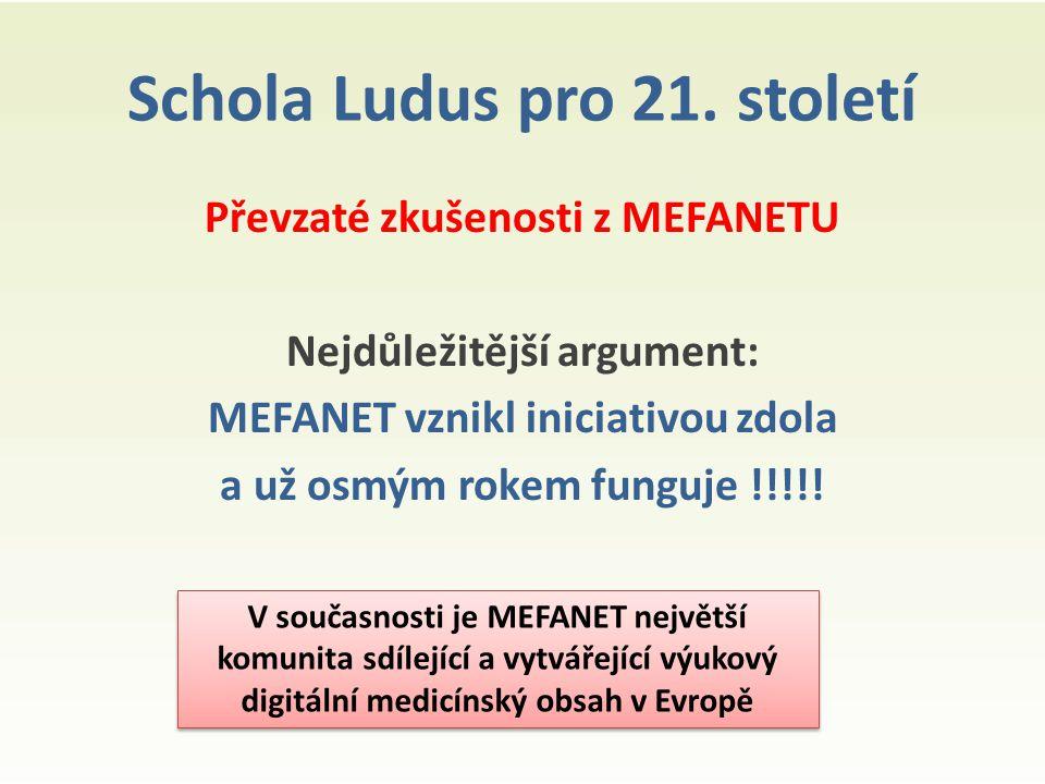 Schola Ludus pro 21. století Převzaté zkušenosti z MEFANETU Nejdůležitější argument: MEFANET vznikl iniciativou zdola a už osmým rokem funguje !!!!! V